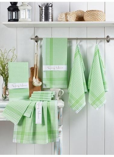Eponj Home 10lu Kurulama ve Mutfak Peçetesi 45x65Cm PötiKareli Fıstık Yeşili Yeşil